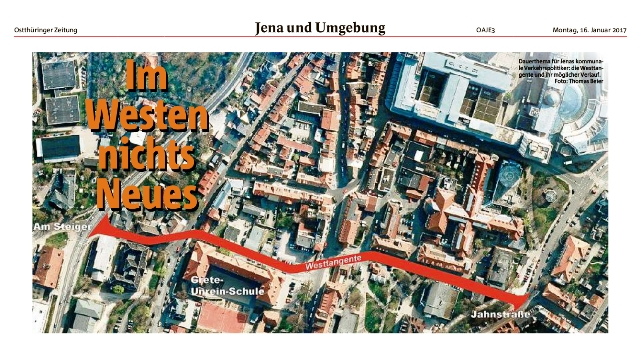 Diese rote Linie soll einmal eine Straße werden, auch direkt an unserem Schulgebäude entlang. ...