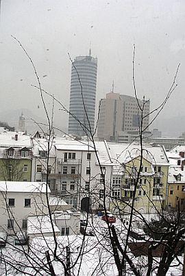 Winterlicher Blick auf Jena aus unserer Schule in der Stadt, 2. Etage.